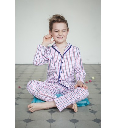 Amiki Children pižama berniukams Sam. Spalva balta languota