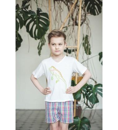 Amiki Children pižama berniukams Leon. Spalva balta su languotais šortukais