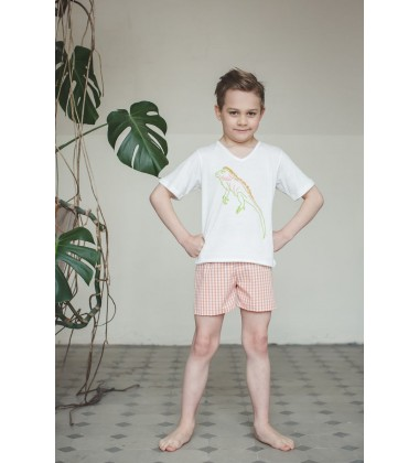 Amiki Children pižama berniukams Leon. Spalva balta / oranžinė