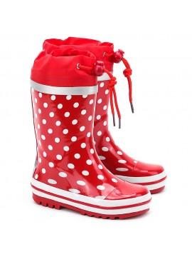 Playshoes guminiai botai. Spalva raudona taškuota