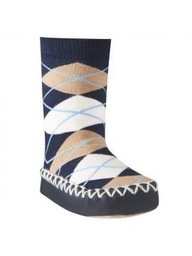 Playshoes kojinės su neslidžiu paduku. Spalva tamsiai mėlyna su rombais