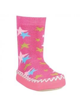 Playshoes kojinės su neslidžiu paduku. Spalva rožinė su žvaigždutėmis
