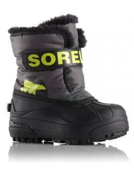 Sorel žiemos batai Childrens Snow Commander. Spalva pilka / salotinė 2018