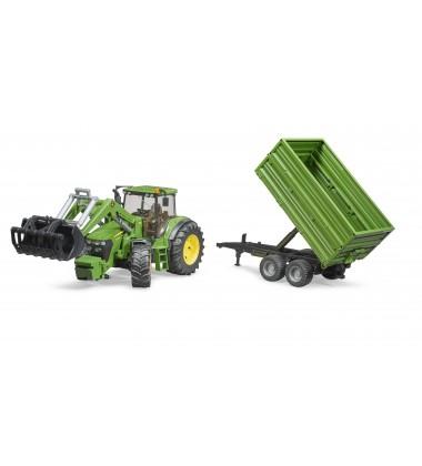 Bruder žaislas traktorius. John Deere 7930 su priekiniu kaušu ir priekaba