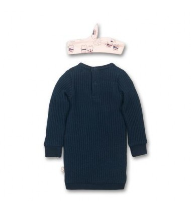 Dirkje mergaitiška suknelė su galvos juostele. Spalva tamsiai mėlyna / rožinė