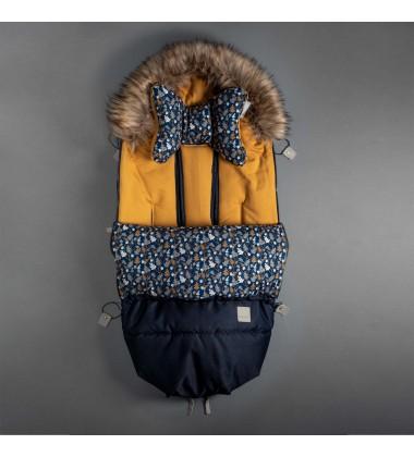 Beztroska vokas į vėžimėlį rudeniui / žiemai. Spalva tamsiai mėlyna ( dydis 100cm )