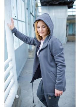 Tuss moteriškas  džemperis  su užtrauktuku. Spalva tamsiai pilka