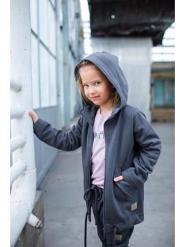 Tuss vaikiškas džemperis  su užtrauktuku. Spalva tamsiai pilka