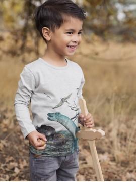 Koko - Noko palaidinė ilgomis rankovėmis su dinozaurais. Spalva pilka