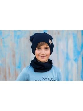 Tuss vaikiškas komplektukas (kepuraitė + šalikėlis) . Spalva tamsiai mėlyna