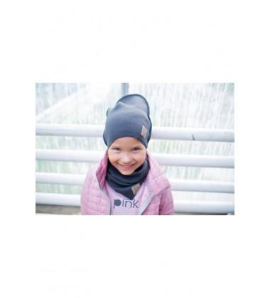 Tuss vaikiškas komplektukas (kepuraitė + šalikėlis) . Spalva tamsiai pilka