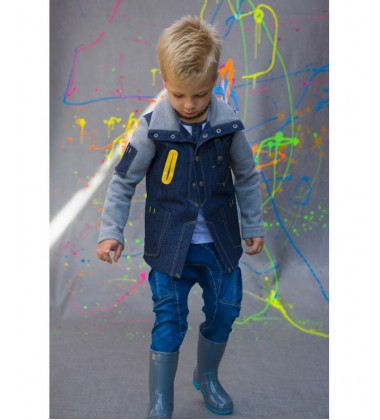 Monomy švarkelis berniukams. Spalva mėlyna/pilka. Dydžiai 116-140cm