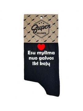 """Super kojinės moterims """"Esu mylima nuo galvos iki kojų"""". Spalva juoda"""
