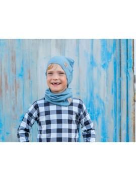Tuss vaikiškas komplektukas (kepuraitė + šalikėlis) . Spalva šviesiai mėlyna