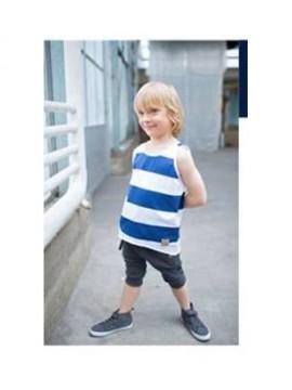 Tuss marškinėliai vaikams be rankovių. Spalva dryžuota mėlyna / balta