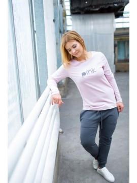 Tuss moteriški marškinėliai su  ilgomis rankovėmis. Spalva švelniai rožinė
