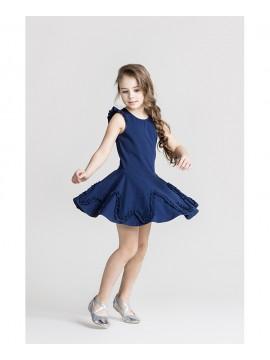 Monomy suknelė su banga. Spalva tamsiai mėlyna. Dydžiai 98 - 110 cm