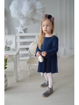 K&F Style Mokyklinė suknelė. Spalva tamsiai mėlyna