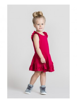 Monomy suknelė su banga. Spalva tamsiai rožinė. Dydžiai 98 - 110 cm