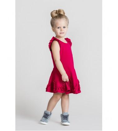 Monomy suknelė su banga. Spalva tamsiai rožinė. Dydžiai 116-146 cm
