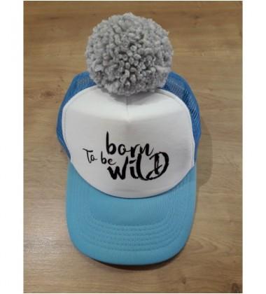 """Nelaland kepurytė """"Born to be WILD'' su pilku bumbulu. Spalva žydra / balta"""