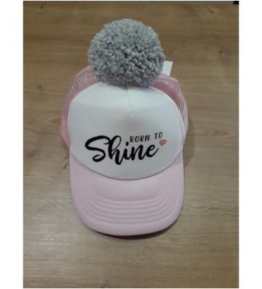"""Nelaland kepurytė """"Born to Shine '' su pilku bumbulu. Spalva rožinė / balta"""
