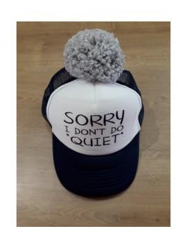 "Nelaland kepurytė "" SORRY I DON'T DO QIUET '' su pilku bumbulu. Spalva tamsiai mėlyna / balta"
