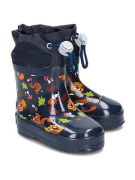 Playshoes guminiai botai su pašiltinimu. Spalva tamsiai mėlyna su gyvūnėliais
