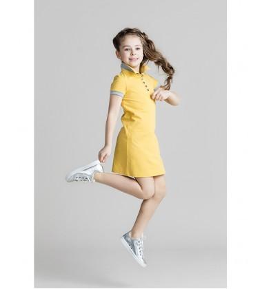 Monomy suknelė Polo. Spalva geltona. Dydžiai 116 - 146 cm