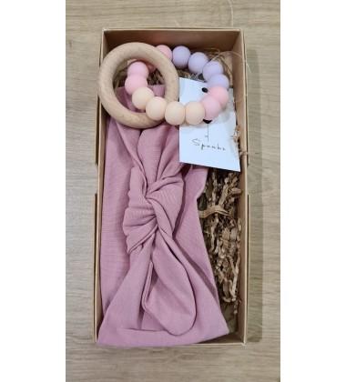 Šponkė rinkinukas mergaitei (kramtukas apyrankė-galvos juostelė). Spalva rožinė