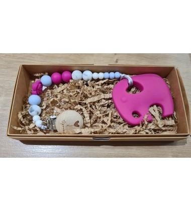 Šponkė Čiulptuko laikiklis su kramtuku-drambliukas. Spalva tamsiai rožinis