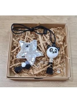 """Šponkės aksesuarų rinkinys (pakabukas """"Panda"""" ir du segtukai). Spalva juoda / sidabrinė"""