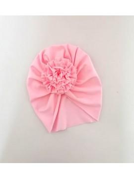 Šponkės turbanas su gėle. Spalva rožinė