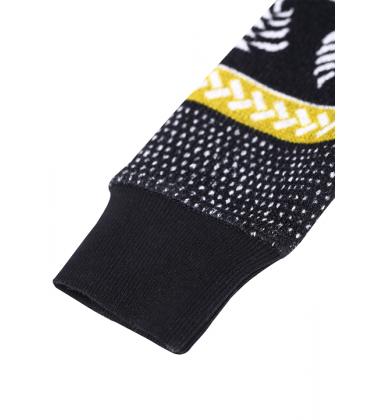 Reima flisinis kombinezonas Myytti. Spalva juoda / mėlyna / geltona su įvairiaspalviais ornamentais