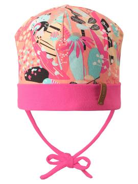 Reima pavasario kepurė su raišteliais Huvi. Spalva rožinė / oranžinė su įvairiaspalviais paveikslėliais