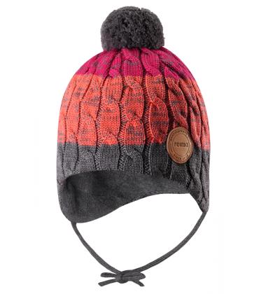 Reima kepurė Nuutti. Spalva oranžinė / pilka/ rožinė dryžuota