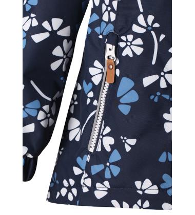 Reimatec® demisezoninė striukė ANISE. Spalva tamsiai mėlyna su baltomis / žydromis gėlytėmis