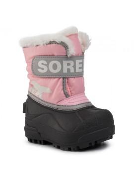 Sorel žiemos batai Childrens Snow Commander. Spalva šviesiai rožinė