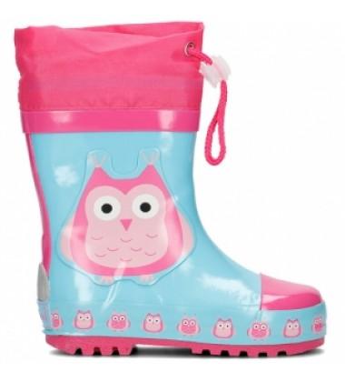 Playshoes guminiai botai. Spalva rožina/mėlyna su pelėda