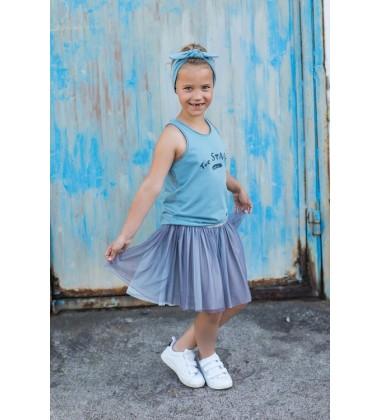 Tuss vaikiškas sijonas. Spalva šviesiai mėlyna/ pilka