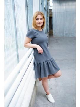 Tuss moteriška suknelė trumpomis rankovėmis . Spalva tamsiai pilka