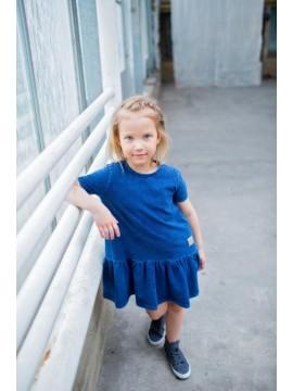 Tuss suknelė mergaitei trumpomis rankovėmis. Spalva džinsinė