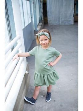 Tuss suknelė mergaitei trumpomis rankovėmis. Spalva chaki