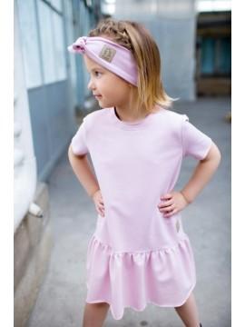 Tuss suknelė mergaitei trumpomis rankovėmis. Spalva švelniai rožinė