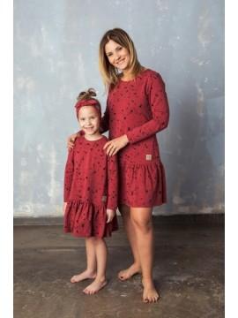 Tuss vaikiška suknelė frilly spots . Spalva raudona/juoda