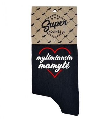 """Super kojinės moterims """"Mylimiausia mamytė"""". Spalva juoda"""