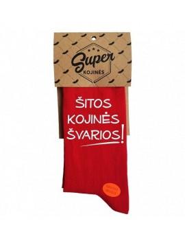 """Super kojinės """"Šitos kojinės švarios!"""". Spalva raudona"""