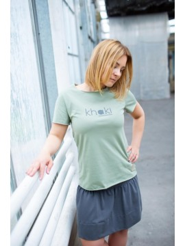 Tuss moteriški marškinėliai trumpomis rankovėmis . Spalva chaki