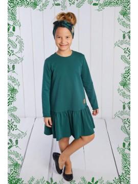 Tuss vaikiška suknelė.  Spalva tamsiai žalia