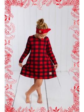 Tuss vaikiška suknelė. Spalva raudona su langeliais 2018